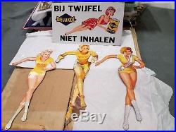 Set 4 Gas, Oil, and Tire Girlie Pin Up Tin Signs, Veedol, not porcelain
