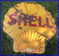 Shell Gasoline Porcelain Sign Original Vintage Gas Oil Advertising