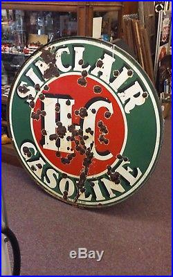 Sinclair 48 Double Sided Porcelain Sign With Ring