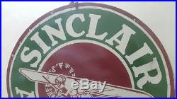 Sinclair Aircraft Double Sided Porcelain Enamel Sign 48 inches round