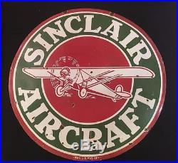 Sinclair Aircraft REG U. S PATT. OFF 1940's Vintage Porcelain 2 Sided Enamel Sign