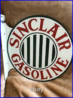Sinclair Gasoline Double Sided Porcelain Flange Sign