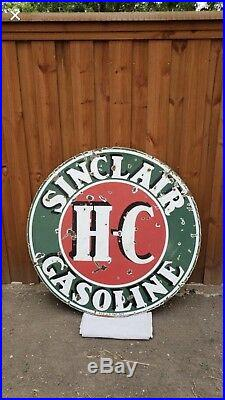 Sinclair HC 48in Porcelain Sign Double Sided