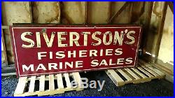 Sivertsons Fisheries Marine Sales Double Sided Porcelain Sign Old Neon Not Oil