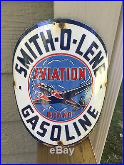 Smith-O-Lene Vintage Aviation Brand porcelain gas pump sign