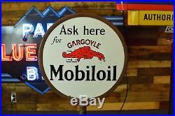 Socony Gargoyle Porcelain Original Curb Sign Mobil Lollipop gas station Sign