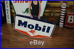 Socony Mobil Porcelain Gas Oil Sign AMAZING Mobilgas RARE Small Size with Bracket