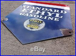 Standard Ethyl Gasoline Porcelain Sign. Original
