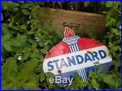 Standard Oil pump plate lubester Vintage gas station steel porcelain sign