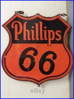Super Clean! Original Ring Double Sided 48 Phillips 66 Oil Gas Porcelain Sign