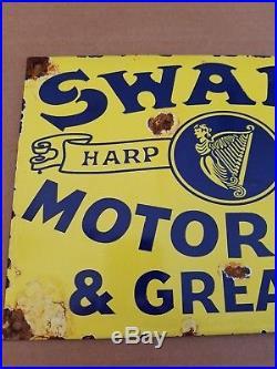 Swarc Harp Brand Motor Oil Grease Porcelain Sign Gas station Vintage Decor farm