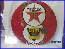 Texaco Ethyl Black-t 8 Ball Two Sided 30 Inch Porcelain Sign Orginal