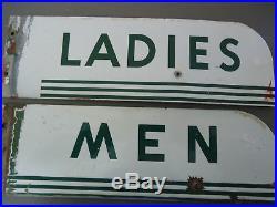 TEXACO Porcelain Restroom Mens Steel Ladies GAS SERVICE STATION SIGNS 1940 50's