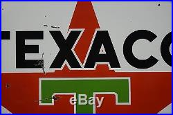 Texaco 2 Sided Porcelain Sign Gas Station & RING NICE Barn Find 6' WILL SHIP