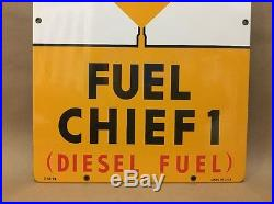 Texaco Fuel Chief 1 Porcelain Yellow Gas Pump Plate Sign Service Texas Gas 66