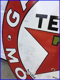 Texaco Gasoline Motor Oil Porcelain original Double Sided station Sign 42 1933