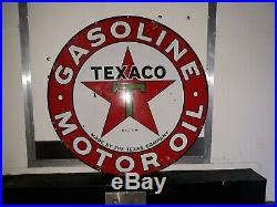 Texaco Gasoline-Motor Oil Service Station Sign, Double Sided, 42, Porcelain