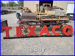 Texaco Porcelain Red Metal Letters With Black Base 12' Long Mounted On Base Orig