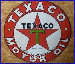 Texaco Porcelain Sign 1930 42 Single Sided