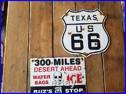 Texaco Route 66 and Buzs ice & Water Steel porcelain Vintage road signs