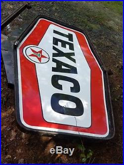 Texaco Service Station Sign Pole. 18ft Tall. Porcelain. Double sided. Original