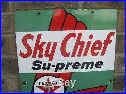 Texaco Sky Chief Supreme Petrox Gasoline Station Porcelain Pump Plate Sign 1963