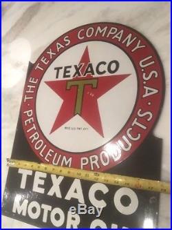 Texaco Vintage Original Porcelain Flange Sign 1920's