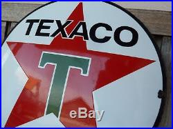 Texaco old porcelain sign 20 heavy convex gasoline oil lubester gas station