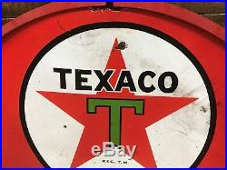 Texaco, sign, vintage, porcelain, double sided, gas and oil, collectable, 8ball