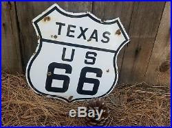 Texas Route 66 vintage Steel porcelain road sign