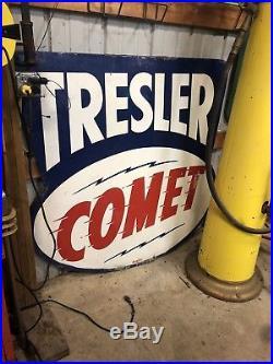 Tresler Comet Sign Vintage Porcelain Not Sohio, gulf Or Texaco