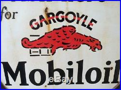 Two Sided Porcelain Ask Here Gargoyle Mobil Oil Lollipop Gas Station Sign