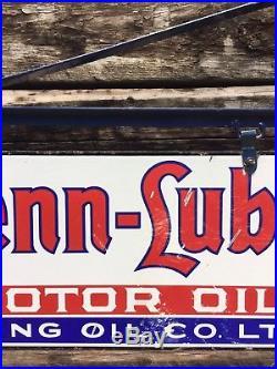 ULTRA RARE Penn-Lube Motor Oil IRVING Oil Co 2 Sided Porcelain Sign WithBracket