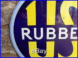 US RUBBER Porcelain Advertising Sign circa 1930