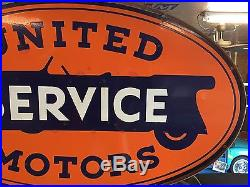 United Motors Service Porcelain Sign, Gas And Oil Chevrolet Ford