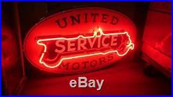 United Motors Service original porcelain red neon one sided sign GM