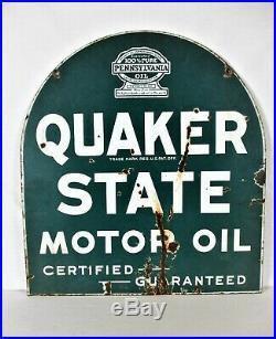 VINTAGE 1930's QUAKER STATE motor oil 2 SIDED 29 PORCELAIN METAL sign