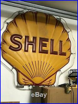 VINTAGE 1940 ADVERTISING SSP CLAMSHELL PORCELAIN SIGN SHELL OIL GASOLINE with NEON