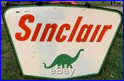 VINTAGE 1959 SINCLAIR GAS OIL DOUBLE SIDED PORCELAIN SIGN 7x5 WITH BRACKET