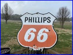VINTAGE 4ft PHILLIPS 66 GASOLINE PORCELAIN ENAMEL Double Sided GAS STATION SIGN