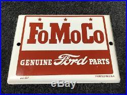 VINTAGE FORD MOTORS PORCELAIN SIGN GAS OIL SERVICE STATION PUMP PLATE FoMoCo