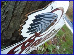 Vintage Indian Motorcycle Double Sided Flange Metal Porcelain Coated Sign