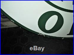 VINTAGE LARGE 30 Diameter SINCLAIR OILS DOUBLE SIDED PORCELAIN ENAMEL SIGN