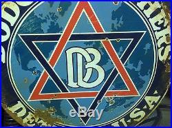 VINTAGE LARGE PORCELAIN DODGE BROTHERS DETROIT U. S. A. Dealership 18 inch sign