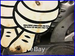 VINTAGE PORCELAIN 54 DIE CUT METAL MICHELIN MAN SIGN Harley Ford Chevy Dodge