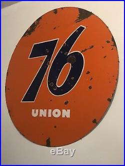 VINTAGE PORCELAIN 76 SERVICE STATION SIGN 5 Feet UNION 76 Original