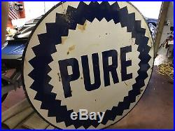 VINTAGE PURE OIL COMPANY PRODUCTS 6ft PORCELAIN GASOLINE & OILS SIGN 2 Sided