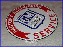 Vintage Rare General Motors Factory Service 8 3/4 Porcelain Gas Sign Pump Plate