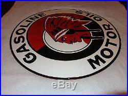 Vintage Rare Red Indian Gasoline & Motor Oil 30 Double Sided Porcelain Gas Sign