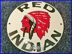 VINTAGE RED INDIAN GASOLINE With CHIEF 11 3/4 PORCELAIN METAL ENAMEL GAS OIL SIGN